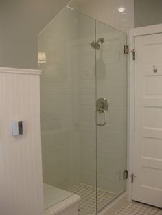 A floor stop for the door is needed or else that door handle will swing into the glass door and could shatter it. This means the door can't open all the way . Look at how close the door jam is to the shower.