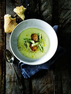 green asparagus soup + fried scallops