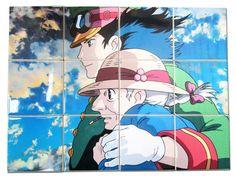 Studio Ghibli wall art - Howl and Sophie - Studio Ghibli tile mural handmade in Italy - Howl's moving castle - Studio Ghibli art Ghibli gift