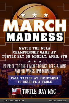 NCAA Championship Game Watch Call to Reserve a Table April 6, 2015 Watch the NCAA Championship game at Turtle Bay! Event Site:- http://bit.ly/1DtpoVo
