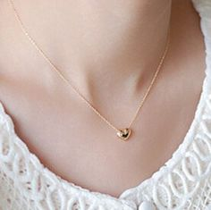 Tiny Gold Heart Shape Necklace by 92Style on Etsy