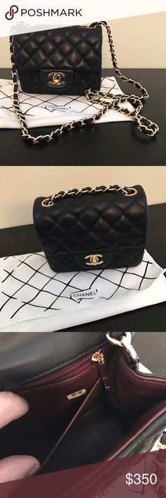Caviar mini quilted purse Black Chanel mini C C  it was a gift. There's only a couple of very light marks in the leather, barely noticeable. Wore it once, perfect condition. Tags: purse bag handbag shoulder crossbody satchel wallet black with gold red interior clutch travel party caviar quilted lamb skin leather. 🛍 Make me an offer! Bags Shoulder Bags
