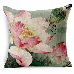 Monkeysell Lotus Leaf Butterfly Flowers Pattern Cotton Linen Throw Pillow Case Cushion Cover Home Sofa Decorative 18 X 18 Inch brbrThe beautiful item provides stylish surface to your device./b brbrThe feature of products: /b br Sofa Cushion Covers, Cushions On Sofa, Pillow Covers, Throw Pillow Cases, Decorative Throw Pillows, Painted Bags, Hand Painted, Home And Deco, Fabric Painting
