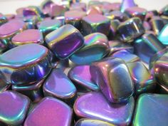 2 x MAGNETIC RAINBOW HEMATITE TUMBLED STONES Wicca Reiki Witch Spell Pagan  Goth #Crystals