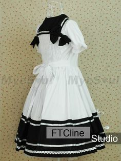 Lolita Dress White Cotton Short Sleeves Bowknot Sailor