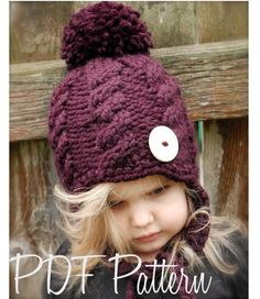 Knitting PATTERN-The Roxie Hat (Toddler, Child, Adult sizes) also can be Made to Order. $5.50, via Etsy.