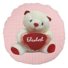 Vintage Valentine Bear With Heart Round Pillow