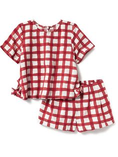 Woven Gingham Short-Set for Baby Girl