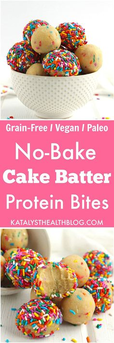 Cake Batter Protein Bites - These no-bake Cake Batter Protein Bites are a delicious protein-packed treat! Made without any grains, gluten or dairy, these bites are gluten-free, vegan and paleo.