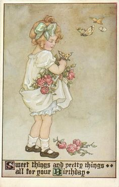 Girl With Rose Held Up In Her Dress Butterflies Overhead Vintage Paper Cards