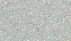 Bardini (NCW4037/01) - Nina Campbell Wallpapers - A tiny delicate all over gloss leaf trail - a gentle, subtle effect suitable for more than one wall. Shown in silver and white on blue. Please ask for sample for true colour match.