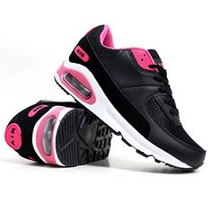 newest 32bf3 5942b Ladies Running Trainers Air Tech Shock Absorbing Fitness Gym Sports Shoes  Size 4 - 8 (LADIES UK SIZE 6, Black   Fuchsia)