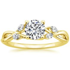 Found it in yellow gold! Totally me. I love this company! 18K Yellow Gold Willow Diamond Ring from Brilliant Earth