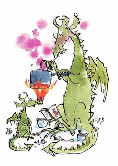 Dragons By Quentin Blake. My favourite illustrator. Quentin Blake Illustrations, Hans Christian, Breathing Fire, Roald Dahl Books, Dragons, Children's Book Illustration, Dragon Illustration, Childrens Books, Book Art