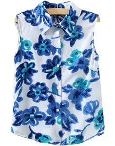 Blue Lapel Sleeveless Ink Floral Blouse 17.33