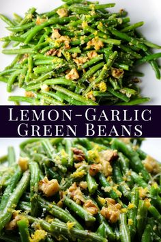 Lemon Garlic Green Beans is a super simple side dish that full flavor. Bursts of… Lemon Garlic Green Beans is a super simple side dish that full flavor. Bursts of lemon and garlic with a hint of cheese and crunchy walnuts. Pairs with any dinner. Vegetable Sides, Side Dishes Easy, Vegetable Side Dishes, Summer Side Dishes, Broccoli Recipes, Salad Recipes, Garlic Broccoli, Vegetarian Recipes, Cooking Recipes