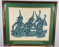Vintage Framed Thai Temple Rubbing on Rice Paper, Buddhist Art, Hindu Art, Religious Art, Green Blue Framed Art, Asian Style Decor by CurioBoxx on Etsy