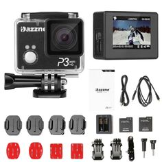 Dazzne P3 Wifi Waterproof Action Sports Camera 2.0 Inch TFT Screen Support HD 1080P 60fps -16MP F/2.8 Aperture 170 Degree Wide Angle Lens Ambarella A7LS Processor with Accessories *** You can find out more details at the link of the image.