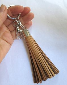 Camel Beige Leather Tassel Keychain Silver Skin by AngelPearls, $20.00