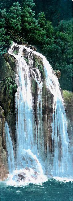 (North Korea) Yimyeongsu waterfalls in Mt Myohyang by Kim Yong-gweon (1936-  )