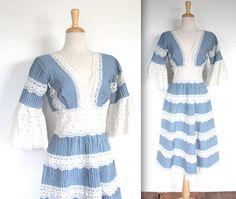 Vintage 1970s Dress // 70s Cornflower Blue and by TrueValueVintage, $65.00