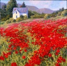 Shirley Novak, American artist working in Colorado: Spring's Poppy Crop
