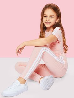 Shop Girls Stripe Side Ribbed Knit Hoodie and Pants Set online. SheIn offers Girls Stripe Side Ribbed Knit Hoodie and Pants Set & more to fit your fashionable needs. Preteen Girls Fashion, Young Girl Fashion, Kids Outfits Girls, Cute Girl Outfits, Girls Fashion Clothes, Cute Outfits For Kids, Fashion Kids, Fashion Outfits, Trendy Clothing
