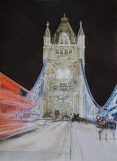 Tower by lights, ( Tower Bridge - London England) aquarelle 47 x 38, Fabriano 300 gr, original is SOLD, Exclusive high end imprint on aquarelle paper - 100 Euro www.sandorszikszai.com Tower Bridge London, London England, Bridges, Euro, Lights, Spaces, The Originals, Travel, Life
