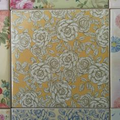 Vintage style yellow and white roses patterned ceramic wall tile by Floral Tiles. Use several to create a larger pattern, or mix and match with some of our many other designs to create a patchwork tile feature wall. Dozens of designs at FloralTiles.co.uk.