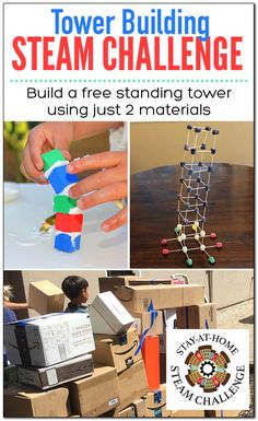 Join the Stay-At-Home STEAM Challenge! Create a free standing tower made from only two materials (paper & tape, straws & play dough, cups & craft sticks). Rainy Day Activities For Kids, Outdoor Activities For Kids, Outdoor Learning, Kids Learning Activities, Stem Activities, Stem Challenges, Engineering Challenges, Steam Learning, Science Projects