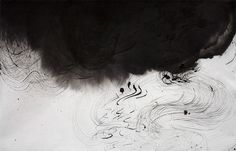 "Untitled (Image 9461), 25""h x 38-1/2""w, water & Sumi ink on handmade kozo paper, 2011. © Sky Pape, all rights reserved."
