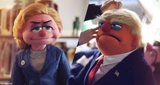 Donald Trump and Hillary Clinton caricature puppets Trump Vs Hillary, Custom Puppets, Master Of Puppets, Punch And Judy, Puppet Patterns, The Muppet Show, Puppet Show, Puppet Making, Latest Music Videos