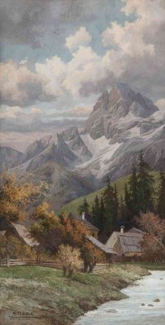 Art and Salt — Autumn in the Dolomites – Karl Flieher - Naturbilder Watercolor Landscape, Landscape Art, Landscape Paintings, Aesthetic Painting, Aesthetic Art, Mountain Paintings, Scenery Wallpaper, Classical Art, Renaissance Art
