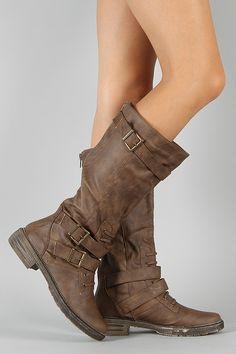 Liliana Harvey-3 Buckle Riding Knee High Boot