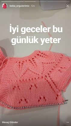 """diy_crafts-This post was discovered by Sevgi Genç Altuntaş. Discover (and save! """"This post was discovered by Sevgi Gen Diy Crafts Knitting, Diy Crafts Crochet, Sweater Knitting Patterns, Knitting Stitches, Knitting Designs, Knit Patterns, Knit Baby Sweaters, Baby Hats Knitting, Knitting For Kids"""