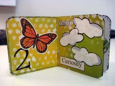 Number and Nature theme altered board book. 2 inches square, with five pages! Acrylic, vintages papers, stamping.