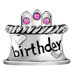 Pugster Happy Birthday Cake Hot Pink Bead Charm Fit Pandora Chamilia Biagi Charms Bracelet