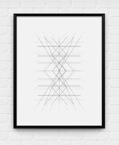 Geometric Art Center Printable Poster by BlackAndWhitePosters