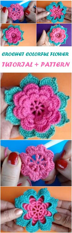 Crochet Colorful Flower Step By Step