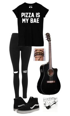 """Me, Pizza, and Guitar "" by carmentellez5 ❤ liked on Polyvore featuring Topshop, Vans, women's clothing, women, female, woman, misses and juniors"