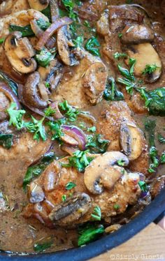 One Skillet Pork Chops with Mushroom Sauce Recipe