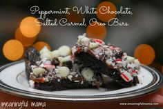 Peppermint, White Chocolate, Salted Carmel Oreo Bars