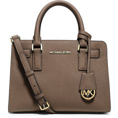 MICHAEL Michael Kors Dillon Saffiano Small Satchel Bag ($228) ❤ liked on Polyvore featuring bags, handbags, dark dune, brown satchel, satchel purse, michael michael kors purse, zipper purse and brown handbags