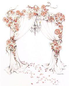 It's all about the floral entrance Wedding Drawing, Watercolor Wedding, Wedding Pics, Wedding Cards, Luxury Wedding Decor, Storybook Wedding, Wedding Reception Backdrop, Fashion Design Sketchbook, Wedding Illustration