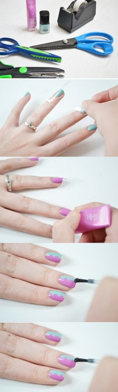 To get nails that look like they cost a fortune at the salon, you just need tape and some craft scissors.