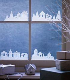 Fensterbilder zu Weihnachten - Dorf aus Transparentpapier