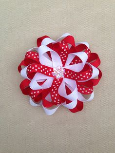 Red christmas hair bow, red and white holiday hair bow, Christmas hair bow, halloween hair bow, holiday bow, Christmas