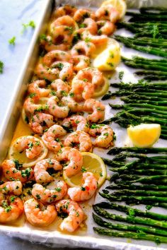 One Pan Roasted Lemon Butter Garlic Shrimp and Asparagus bursting with flavor and on your table in 15 MINUTES! No joke! The easiest, most satisfying meal that tastes totally gourmet! Asparagus Recipes Oven, Fish Recipes, Seafood Recipes, Dinner Recipes, Cooking Recipes, Healthy Recipes, Healthy Meals, Baked Shrimp Recipes, Gourmet Recipes