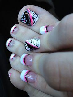 Pink black and white flower zebra toe nail design - 50 Pretty Toenail Art Designs <3 <3