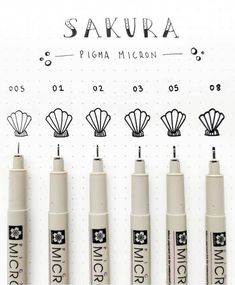 Practicality and performance in one pen! Sakura's Pigma Micron pens are perfect for drawings and craft work. Their smooth flowing pigment ink is acid free and does not smudge. Swatch, Sakura Pigma Micron, Sakura Pens, School Stationery, Stationery Store, Posca, Ink Pen Drawings, Pen Art, Brush Pen